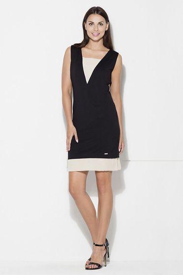 Fekete Katrus ruha casual ujjatlan rövid egyenes szabás