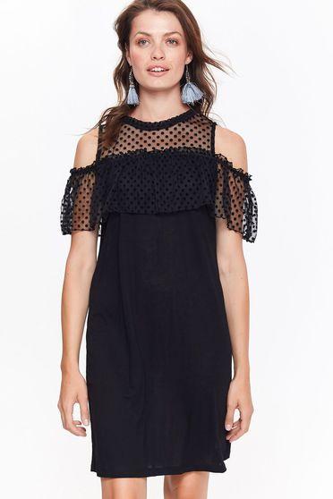 Fekete Top Secret ruha casual ujjatlan fodros nem rugalmas anyag