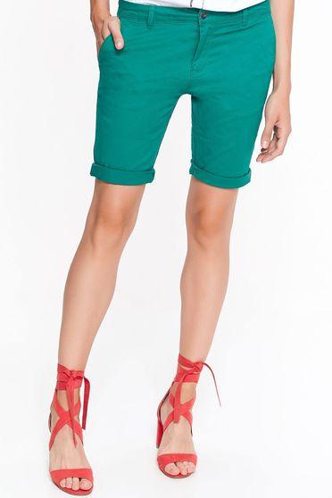 Zöld Top Secret rövidnadrág casual pamutból készült zsebes