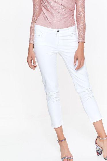 Fehér Top Secret nadrág casual hosszú pamutból készült