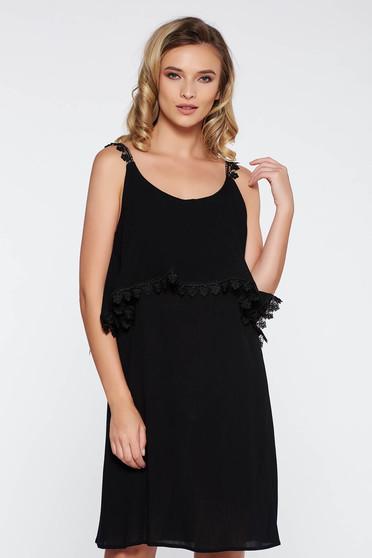 Fekete StarShinerS casual bő szabású ruha lenge anyagból nem rugalmas anyag pántok