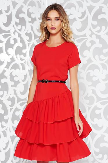 Piros StarShinerS elegáns bő szabású ruha fátyol belső béléssel fodros 8413270191
