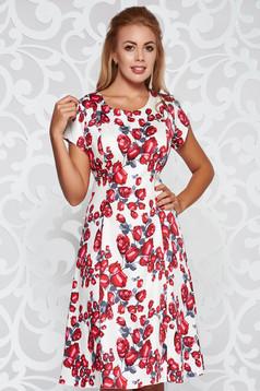 Piros hétköznapi harang ruha pamutból készült midi virágmintás díszítéssel