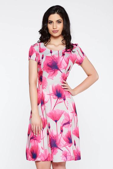 Pink hétköznapi harang ruha pamutból készült midi virágmintás díszítéssel