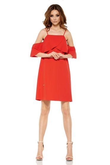 Piros Lemoniade alkalmi ruha váll nélküli bő szabású rövid finom tapintású  anyag 925347ffef