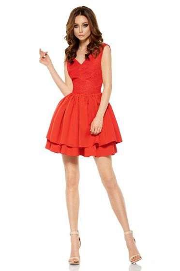 Piros Lemoniade elegáns ujjatlan rövid harang ruha 5b1c22c226