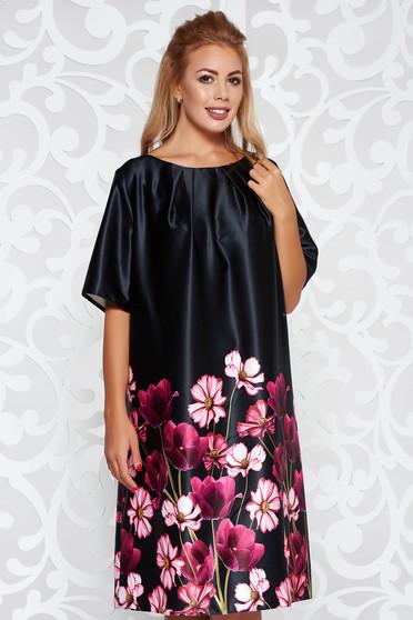 Fekete ruha elegáns rövid ujjú bő szabású virágmintás szatén anyagból
