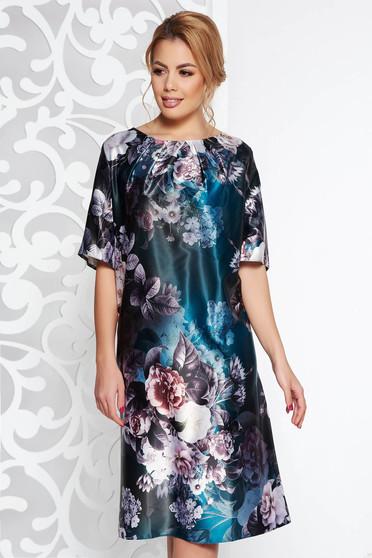 Sötétzöld elegáns ruha rövid ujjú bő szabású virágmintás szatén anyagból 304598bc49