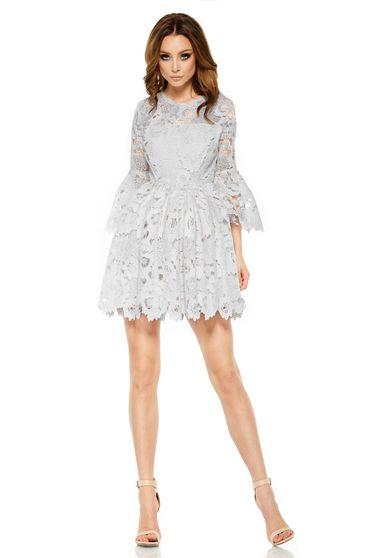 Világosszürke Lemoniade ruha elegáns harang csipkés anyagból belső béléssel  harang ujjakkal 485cf82e39