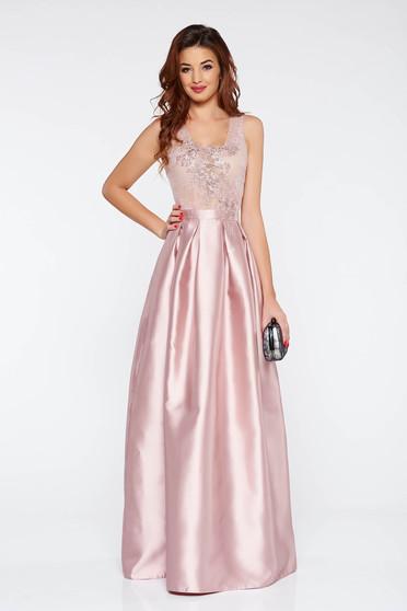 Rózsaszínű LaDonna alkalmi deréktól bővülő szabás ruha szatén anyagból  gyöngyös díszítés d10bf57255