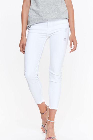 Fehér Top Secret nadrág casual farmerarnyagból zsebes szűk szabás