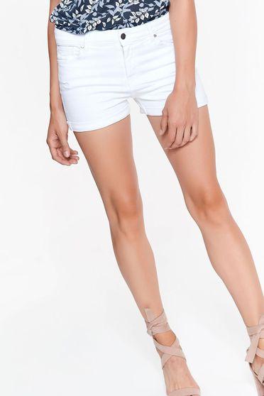 Fehér Top Secret rövidnadrág casual pamutból készült zsebes