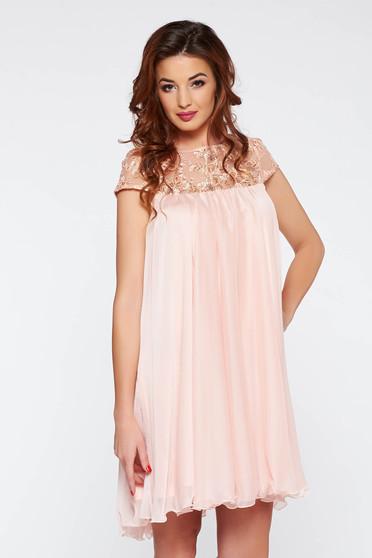 Rózsaszínű Artista rövid alkalmi bő szabás ruha hímzett betétekkel abe5358586