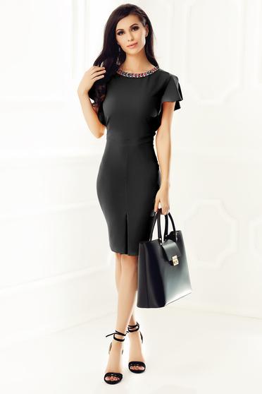 Fekete elegáns ceruza ruha vékony, rugalmas szövet gyöngyös díszítés