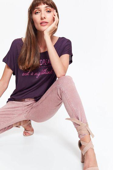 Lila Top Secret póló casual bő szabású nem elasztikus pamut rövid