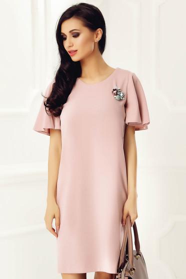 Rózsaszínű StarShinerS rövid bő szabású ruha rövid ujjú