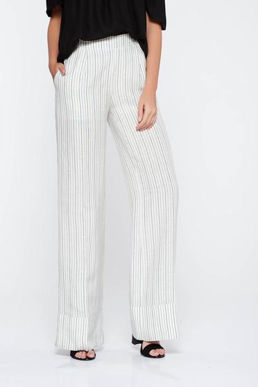 Fehér PrettyGirl nadrág casual deréktól bővülő szabás nem rugalmas anyag magas derekú zsebes