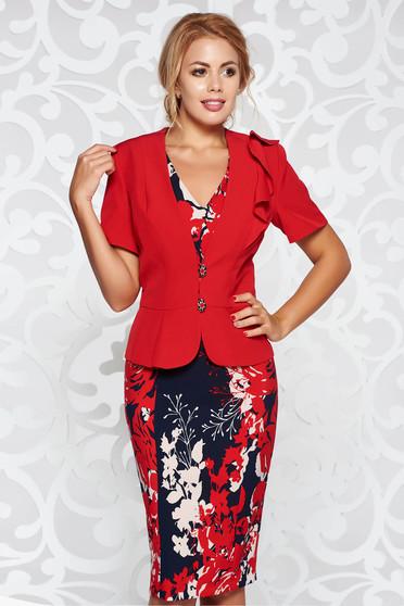 Piros elegáns női kosztüm karcsusított szabás enyhén elasztikus szövet