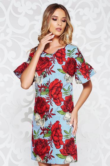 Piros casual bő szabású ruha nem elasztikus pamut virágmintás díszítéssel