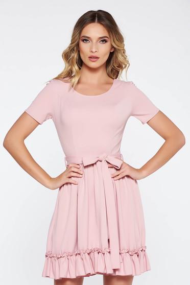 Rózsaszínű hétköznapi harang ruha rugalmas anyag puha anyag övvel ellátva