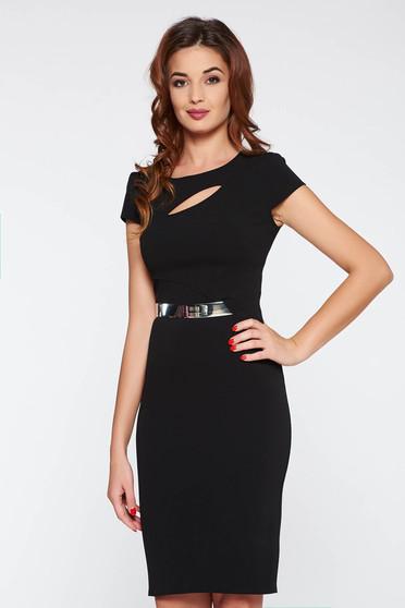 b43cfe916c Fekete elegáns szűk szabású ruha puha anyag rugalmas anyag övvel ellátva
