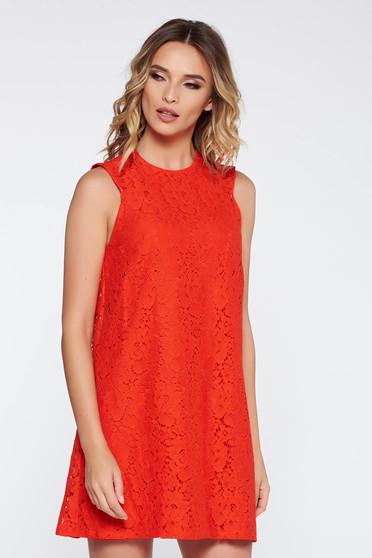 Piros elegáns bő szabású ruha csipkés anyag belső béléssel ujj nélküli