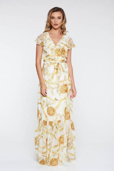 Fehér LaDonna elegáns ruha lenge, áttetsző anyag belső béléssel fodros