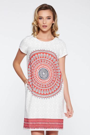 Fehér bő szabású hétköznapi ruha nem rugalmas anyag belső béléssel rövid ujjú