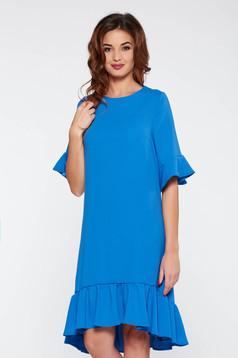 Kék elegáns bő szabás ruha enyhén elasztikus szövet