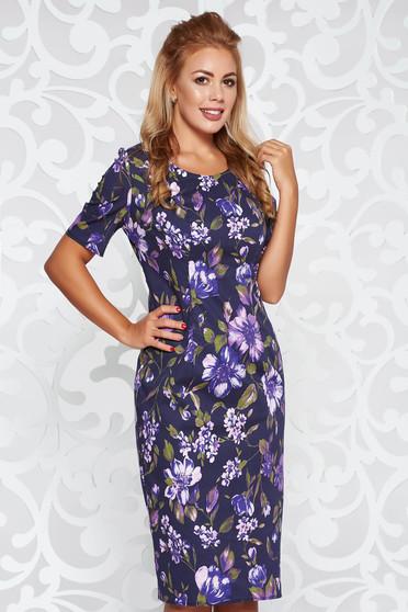 Lila casual szűk szabás ruha virágmintás díszítéssel enyhén elasztikus pamut