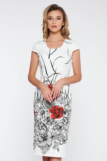 Fehér irodai midi ruha szűk szabás enyhén rugalmas anyag virágmintás díszítéssel