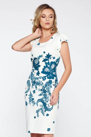Fehér irodai ceruza ruha enyhén rugalmas anyag virágmintás díszítéssel rövid ujjú