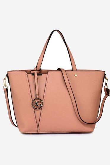 Rózsaszínű táska műbőr rövid fülekkel irodai