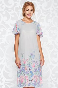 Szürke elegáns bő szabású ruha lenge, áttetsző anyag belső béléssel virágmintás