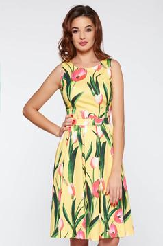 Sárga LaDonna elegáns deréktól bővülő szabás ruha elasztikus pamutszatén