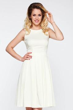 Fehér LaDonna elegáns deréktól bővülő szabás ruha elasztikus pamutszatén