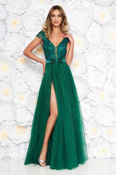 Artista zöld alkalmi tüll ruha belső béléssel szivacsos mellrész virágos  díszek 3d effekt df352ca1ab