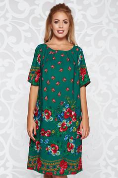 Zöld elegáns bő szabású ruha virágmintás díszítéssel vékony anyag