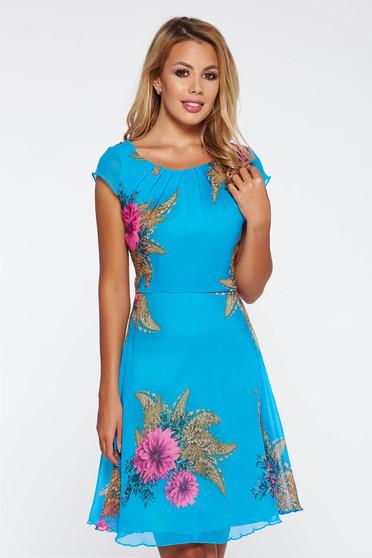 Kék hétköznapi harang ruha lenge anyagból nem rugalmas anyag belső béléssel 7a501a5787