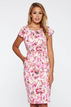 Rózsaszínű hétköznapi ceruza ruha enyhén elasztikus pamut virágmintás díszítéssel
