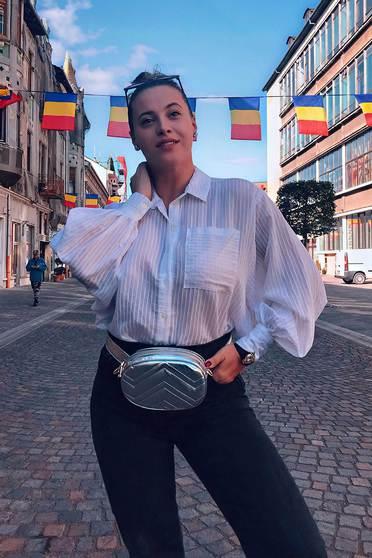 Fehér StarShinerS casual bő szabású női ing lenge, áttetsző anyag
