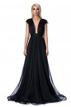 Fekete Ana Radu alkalmi harang ruha gyöngyös díszítés hímzett betétekkel szivacsos mellrész