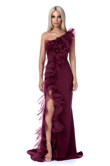 Burgundy Ana Radu alkalmi ruha szűk szabás finom tapintású anyag fodros  hosszú 4bdebdd194