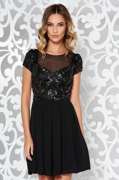 Fekete alkalmi harang ruha csipkés anyag flitteres díszítés