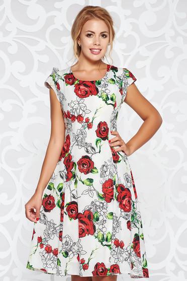 Szürke casual harang ruha vékony anyag virágmintás díszítéssel belső béléssel