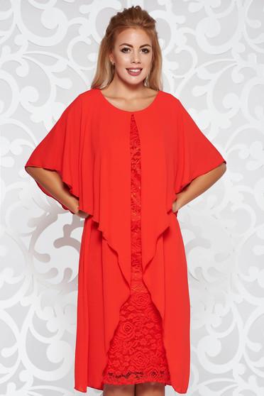 Piros alkalmi midi ruha csipkés anyag belső béléssel fátyol anyagátfedés