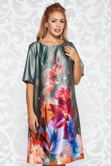 Kaki ruha elegáns rövid ujjú bő szabású virágmintás szatén anyagból