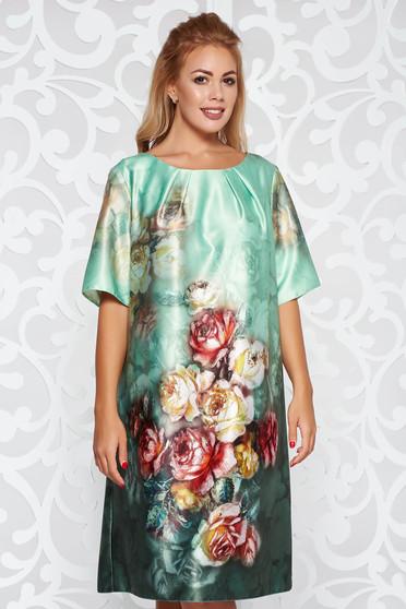 Világos zöld ruha elegáns rövid ujjú bő szabású virágmintás szatén anyagból