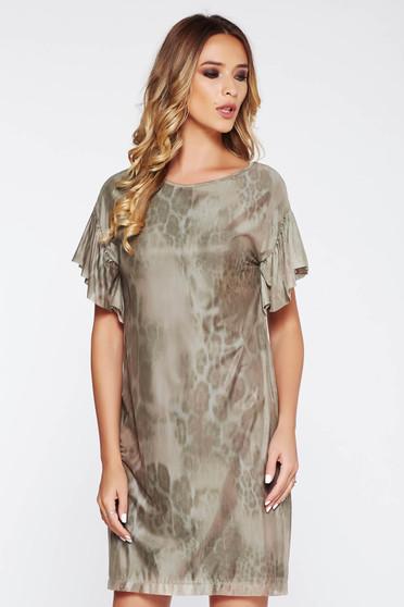 Kaki StarShinerS ruha hétköznapi bő szabású áttetsző anyag belső béléssel fodrozott ujjakkal