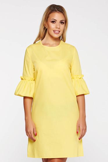 Sárga StarShinerS casual bő szabású ruha rövid nem elasztikus pamut
